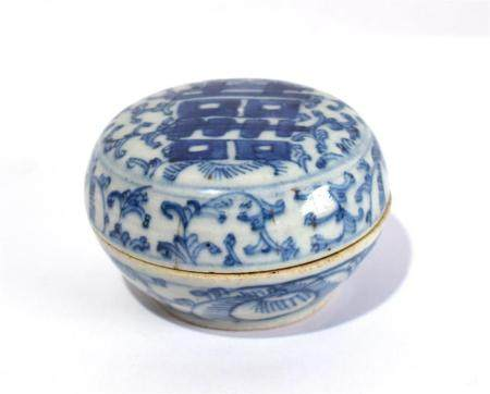 A Chinese Porcelain Blue & White Box, Double Happiness 'Xi' Character on Cover,