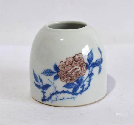 A Porcelain Blue & White Beehive Shaped Water Pot Painted with Red Roses on a Thorny Stem, Kangxi Mark to the Base