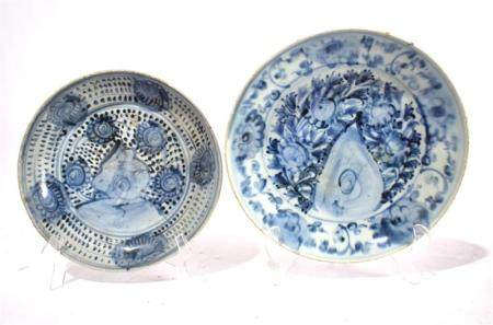 Two Chinese Shallow Dishes Freely Painted in Underglaze Blue, Qing Dynasty, 18th/19th C.,