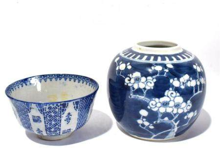A Plum Blossom Jar & a Bowl with a Deep Foot in Underglaze Blue, Late Qing, 19th C.,