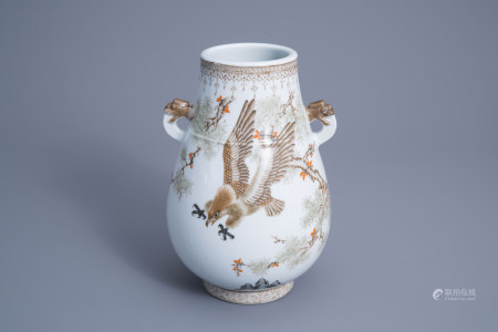 A Chinese 'hu' vase with an eagle, 20th C.