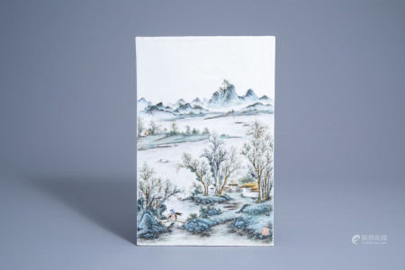 A Chinese fencai plaque with a mountain landscape, seal mark, 20th C.