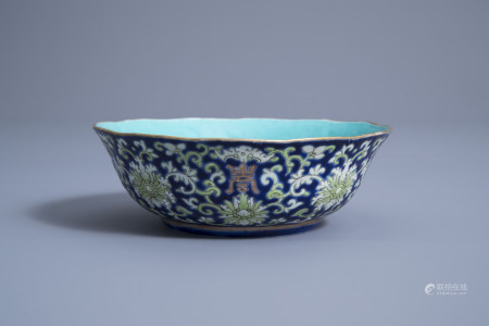 A Chinese blue ground lobed bowl with floral design, Daoguang mark and of the period
