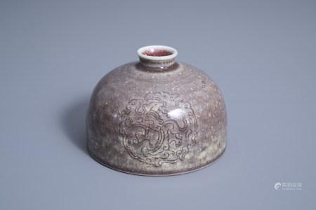 A Chinese flambé glazed beehive water pot, taibo zun, Kangxi mark, 19th/20th C.