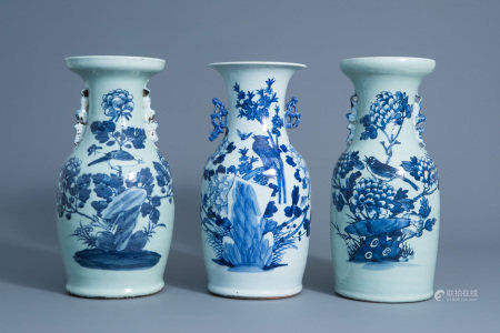 Three Chinese blue and white celadon vases with birds on a branch, 19th C.
