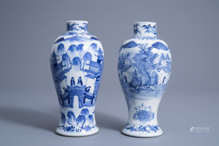 Two Chinese blue and white baluster vases with figures in a river landscape, Kangxi mark, 19th C.