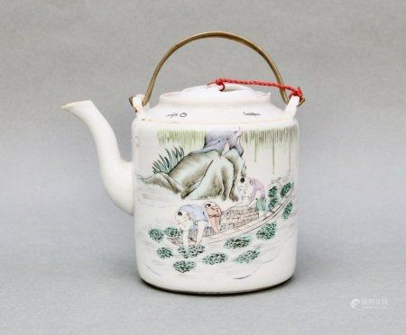 民國 粉彩人物茶壺福生林製