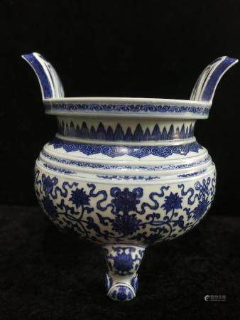 a chinese blue and white censer