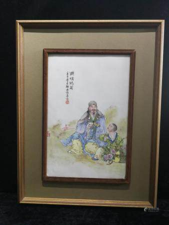 a chinese porcelain plaque by dia bi zhao