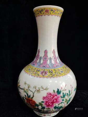 a chinese famille rose bottle vase guan xu mark