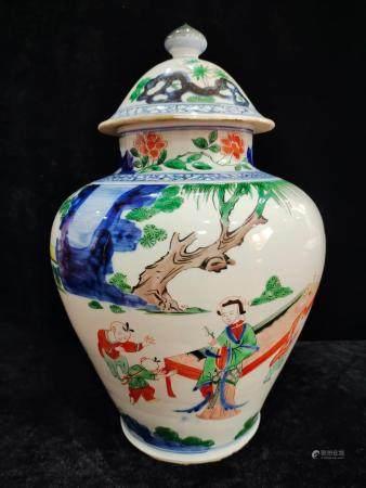a chinese wu cai jar