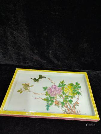 a chinese famille rose tea tray