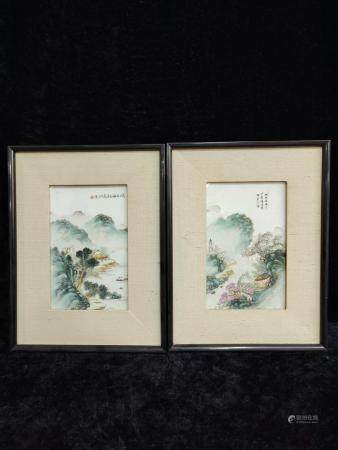 a pair of chinese porcelain plaque