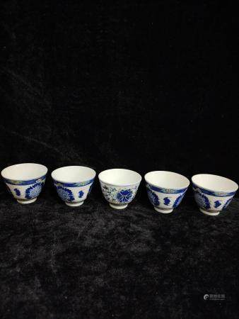 five chinese wu cai cups