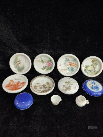 eleven chinese porcelain water pot and inkbox