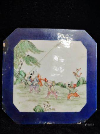 a chinese famille rose plaque