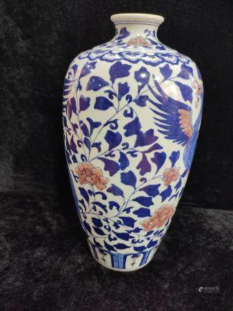 a chiense blue and white copper red miping Vase