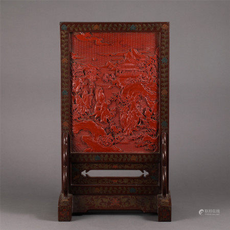 CHINESE CARVED LACQUERWARE FIGURE STORY TABLE SCREEN