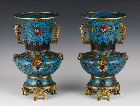 PAIR OF CHINESE CLOISONNE TRIPOD VASES