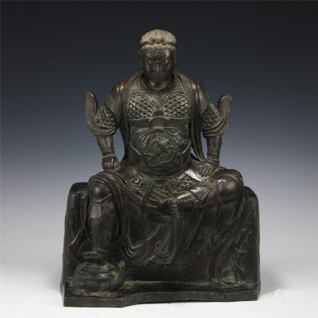 CHINESE BRONZE STATUE OF GUAN GONG