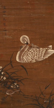 CHINESE PAINTING OF WHITE MOTHER AND BABY GOOSE