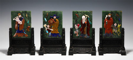 SET OF THREE CHINESE SPINACH JADE CARVED FIGURE TABLE SCREENS