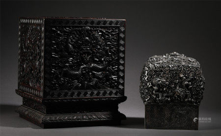 CHINESE SILVER CARVED DRAGON PATTERN SEAL WITH BOX