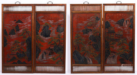 SET OF CHINESE FOUR HANGING LACQUERED PAINTINGS