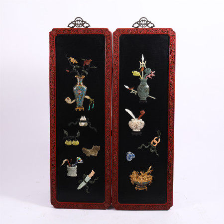 PAIR OF CHINESE CARVED LACQUERWARE HANGING SCREENS WITH JADE AND GEMS