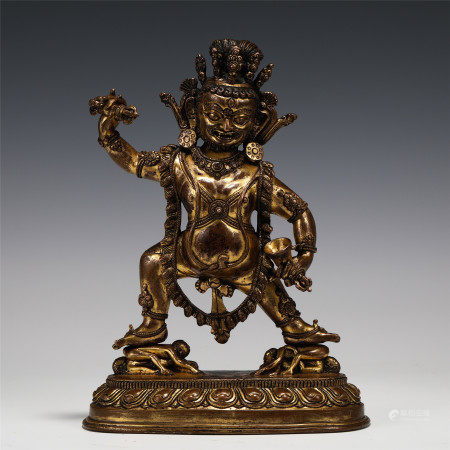 CHINESE GILT BRONZE STATUE OF A GUARD OF BUDDHISM