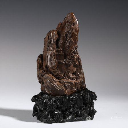 CHINESE AGALWOOD CARVED LANDSCAPE & FIGURE ORNAMENT