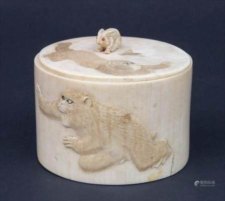 Elfenbein-Deckeldose mit spielenden Affen / An Ivory Lidded Box With Playing Monkeys, Meiji-Periode, Japan, um 1900