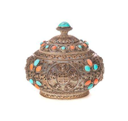 Fine Solid Silver Asian Turquoise Jar