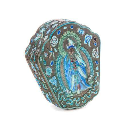 Asian Turquoise Enameled Mirrored Box