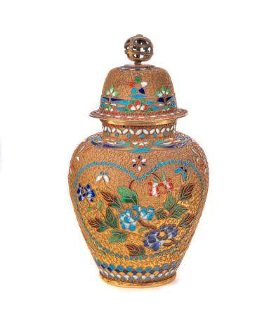 Exposed Wire Cloisonne Enameled Vase
