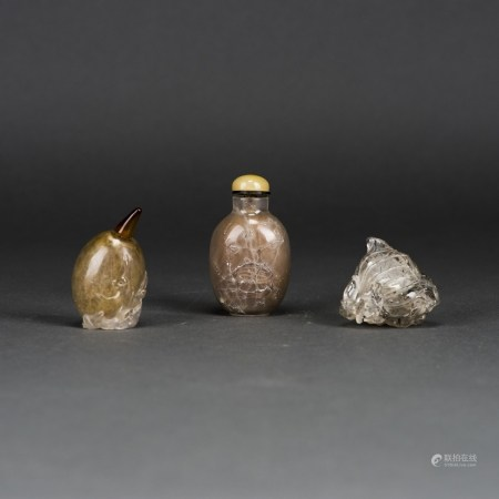 LOT OF 3, A GROUP OF CHINESE CRYSTAL SNUFF BOTTLES
