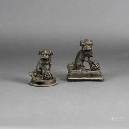 TWO CHINESE BRONZE FIGURES OF BUDDHIST LION
