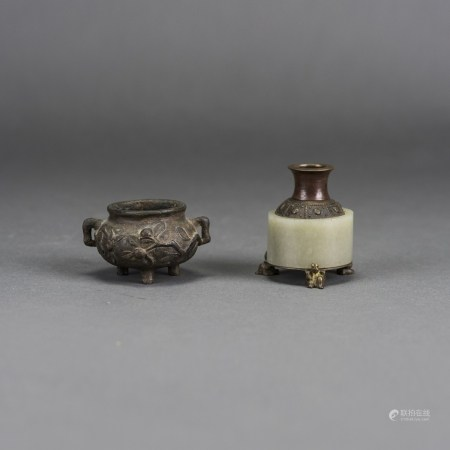 TWO CHINESE MINI BRONZE CENSERS