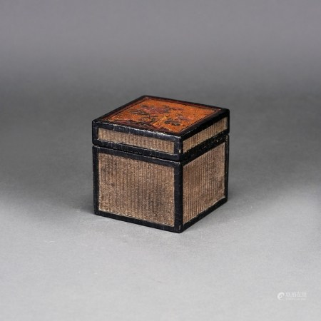 A CHINESE LACQUERED SQUARE BAMBOO BOX AND COVER