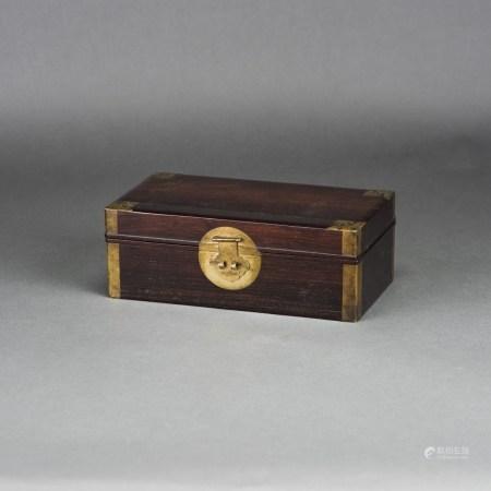A CHINESE ZITAN RECTANGULAR DOCUMENT BOX