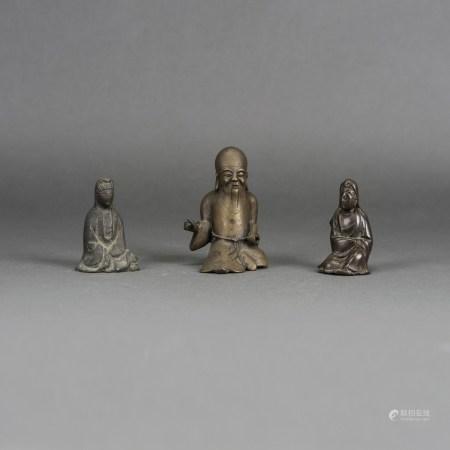 SET OF 3 CHINESE BRONZE FIGURES OF BUDDHA