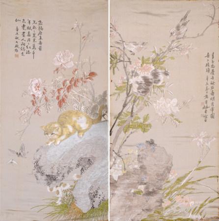 絲織畫二幅