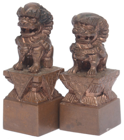 銅獅紐方形印材二件