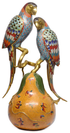 景泰藍鸚鵡瓜果 - '乾隆年製' 款