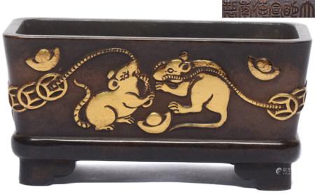 銅局部鎏金運財福鼠方爐 - '大明宣德年製' 款