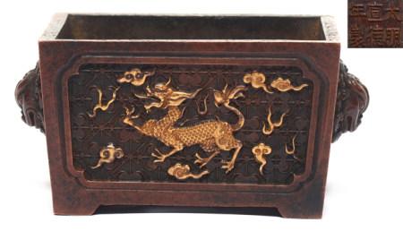 銅局部鎏金麒麟方爐 - '大明宣德年製' 款