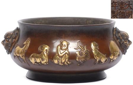 銅局部鎏金十二生肖雙鋪首圈足爐 - '大明宣德年製' 款