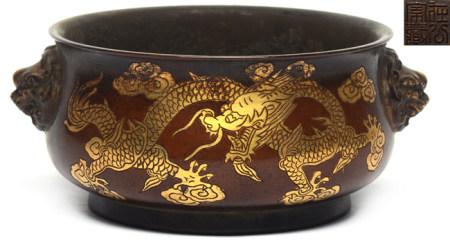 銅局部鎏金龍紋雙鋪首圈足爐- '在公家藏' 款