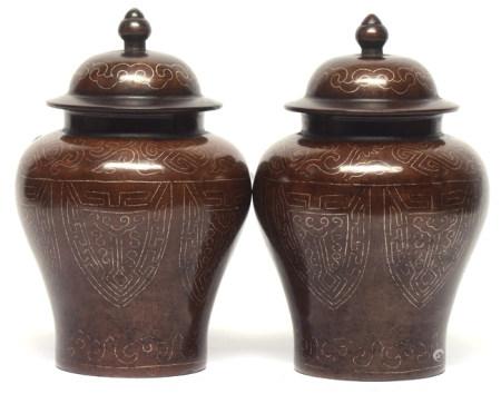 銅錯銀絲博古蓋罐一對