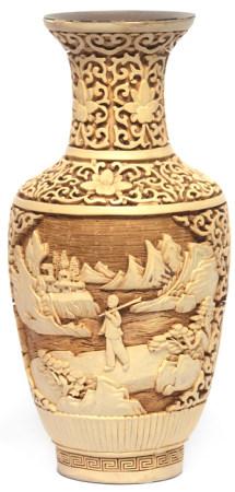 銅胎剔白山水人物瓶